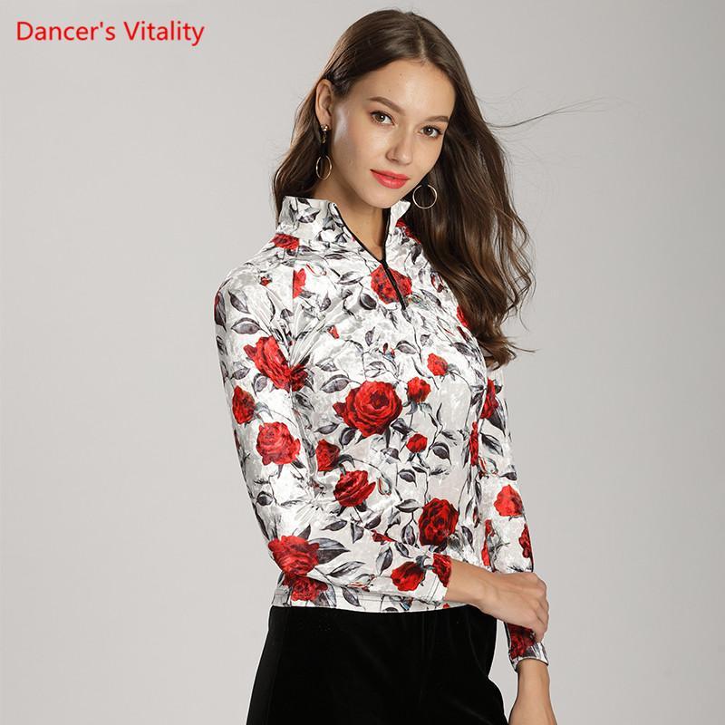 Women Ballroom Dance Tops 2018 New Adult Velvent Printing Long Sleeved  Stand Clothes Latin Waltz Tango Dance Practice Costumes Ballroom Cheap Ballroom  Women ... 37b31fff4