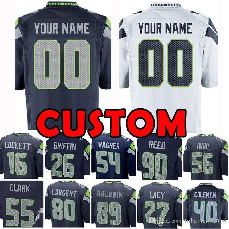 competitive price 4d7d0 7289b Custom Seattle Jersey Seahawk 26 Seahawks Shaquil 89 Doug Baldwin 16 Tyler  Lockett 54 Wagner Frank Clark 80 Largent 56 Avril Jarran Reed NEW