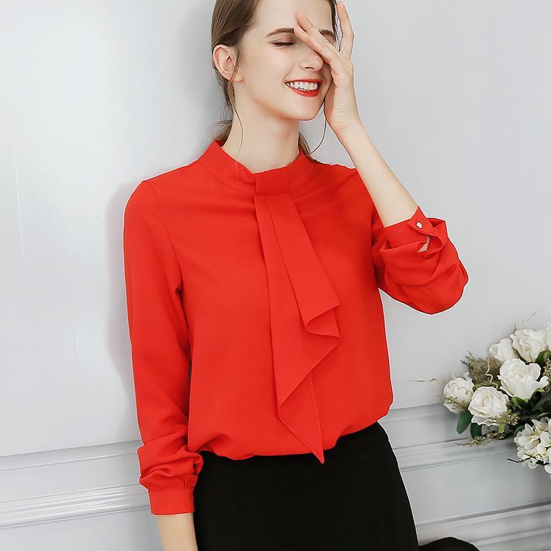 Großhandel 2018 Frauen Büro Shirts Tops Frühling Sommer Blusen Mode Süße Büro  Plus Größe Rot Dünne Bluse Langarm Freizeithemd 2xl Von Benedica, ... 56c3db2cfe