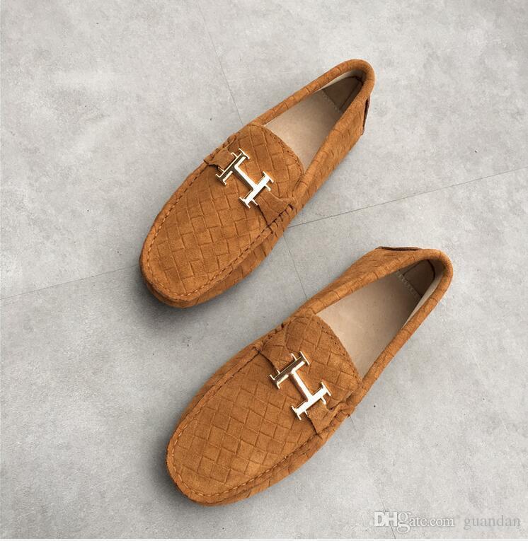 شحن مجاني الرجال / النساء عارضة جلد الغزال المتسكعون الصلبة جلد القيادة الأخفاف الانزلاق على الأحذية الذكور المتسكعون حجم EUR36 ~ 45 dh2h42