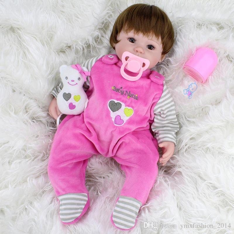 Großhandel 45 Cm Handgemachte Lebensechte Baby Mädchen Puppe Silikon ...
