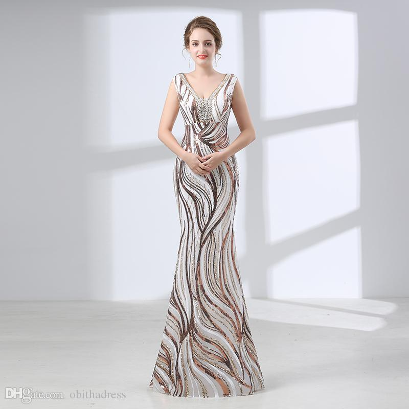 Unique Evening Gown Online White & Gold White Lace Sleeveless V-Neck ...