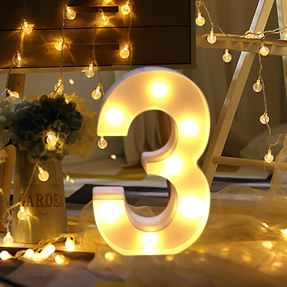 Alphabet Number Digital Letter Led Light White Up Decoration Symbol Indoor Wall Decor Wedding Party Window Display 30th Birthday Supplies