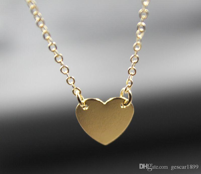 New Arrival Necklace Jewelry Gold Silver Alloy Cute Love Heart Pendant Necklace Clavicle Chain For Woman