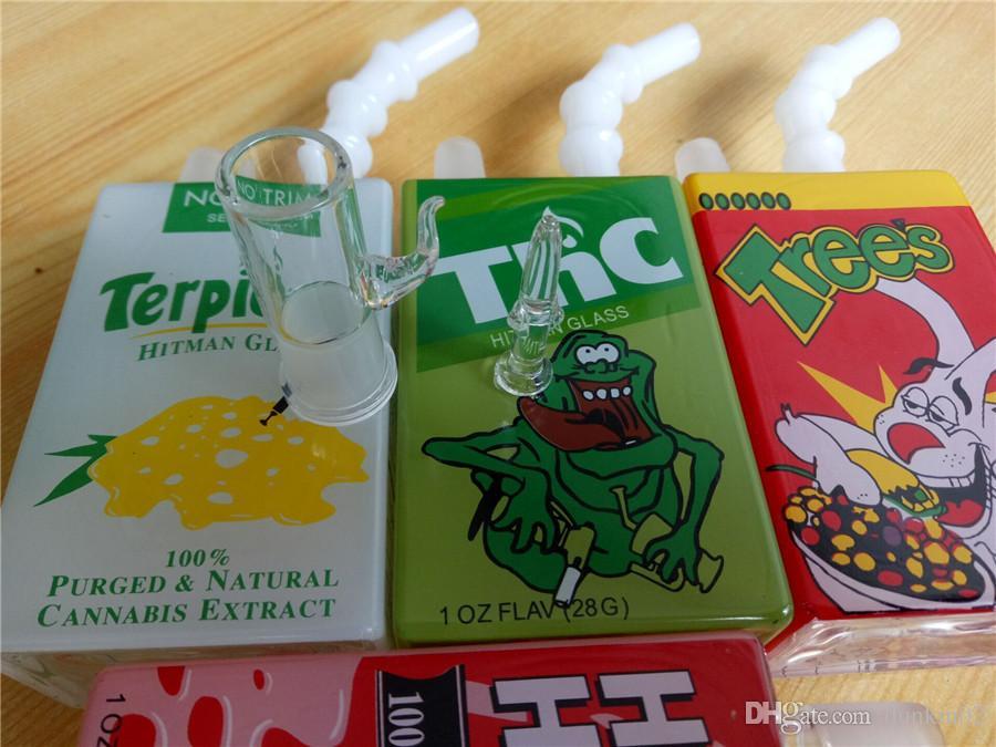 Nueva llegada Hitman Bongs de agua Mini Líquido Vitrales de aceite Caja de jugo de cereales 14 mm mini bongs Concentrado Rig wiith Sin hogar y clavo