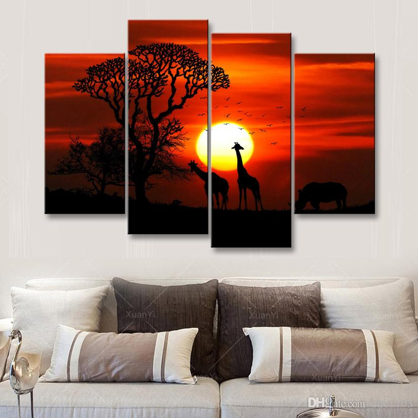 high-definition print African landscape canvas oil painting poster and wall art living room picture FZ4-004