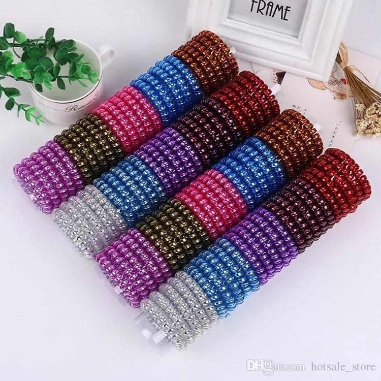 2019 5.5cm Hair Coil Metal Punk Telephone Wire Coil Gum Elastic Band Girls  Hair Tie Rubber Pony Tail Holder Bracelet Stretchy Scrunchies From  Hotsale store 6a42eb0f2d6