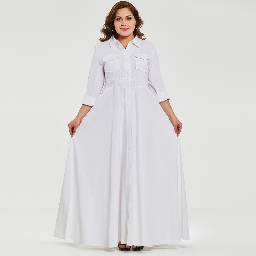 Women Autumn Casual White Long Dress Plus Size Elastic Waist Office Lady  Cotton Maxi Dresses Pockets Button New Fashion Vestidos