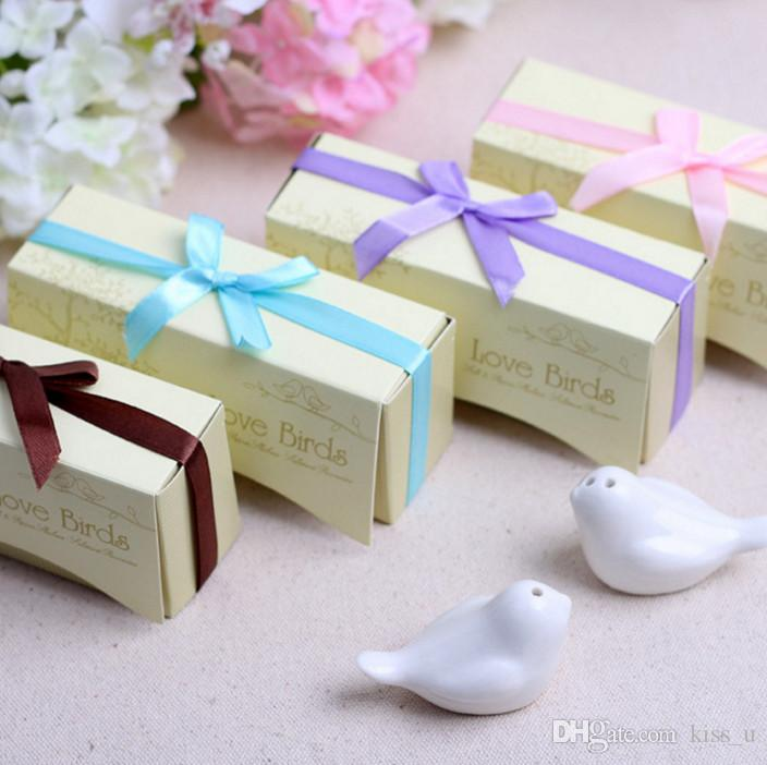 10boxes Perfect little Wedding gift for guests Love birds salt and pepper shakers Wedding favors For Party Gift favor