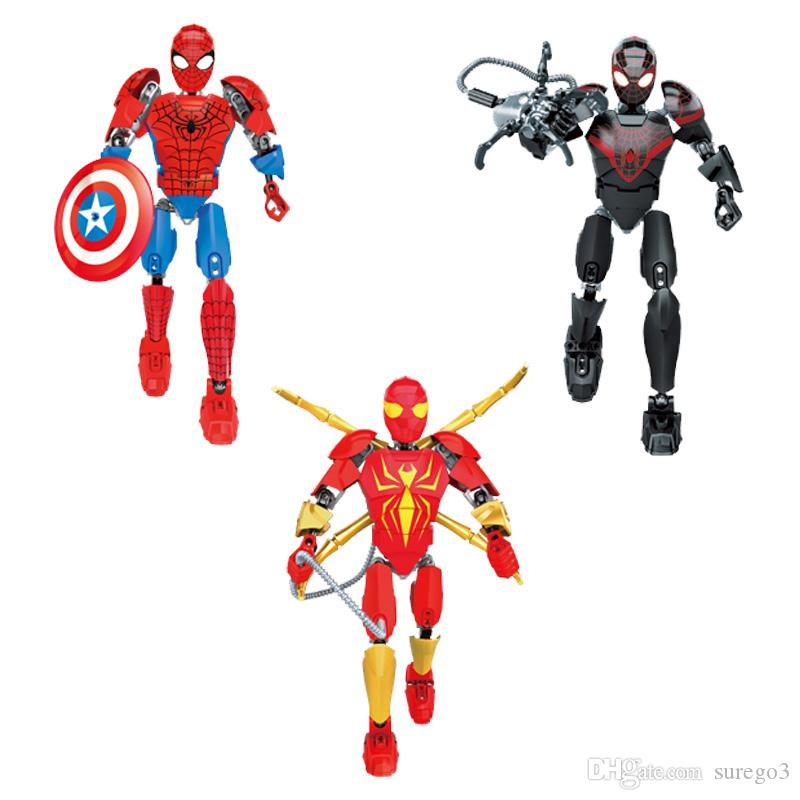 Avengers Super Hero Iron Spiderman Morales Spider-man Buildable Action Figure Movable Joint Miniature Building Block Toy Plastic Brick