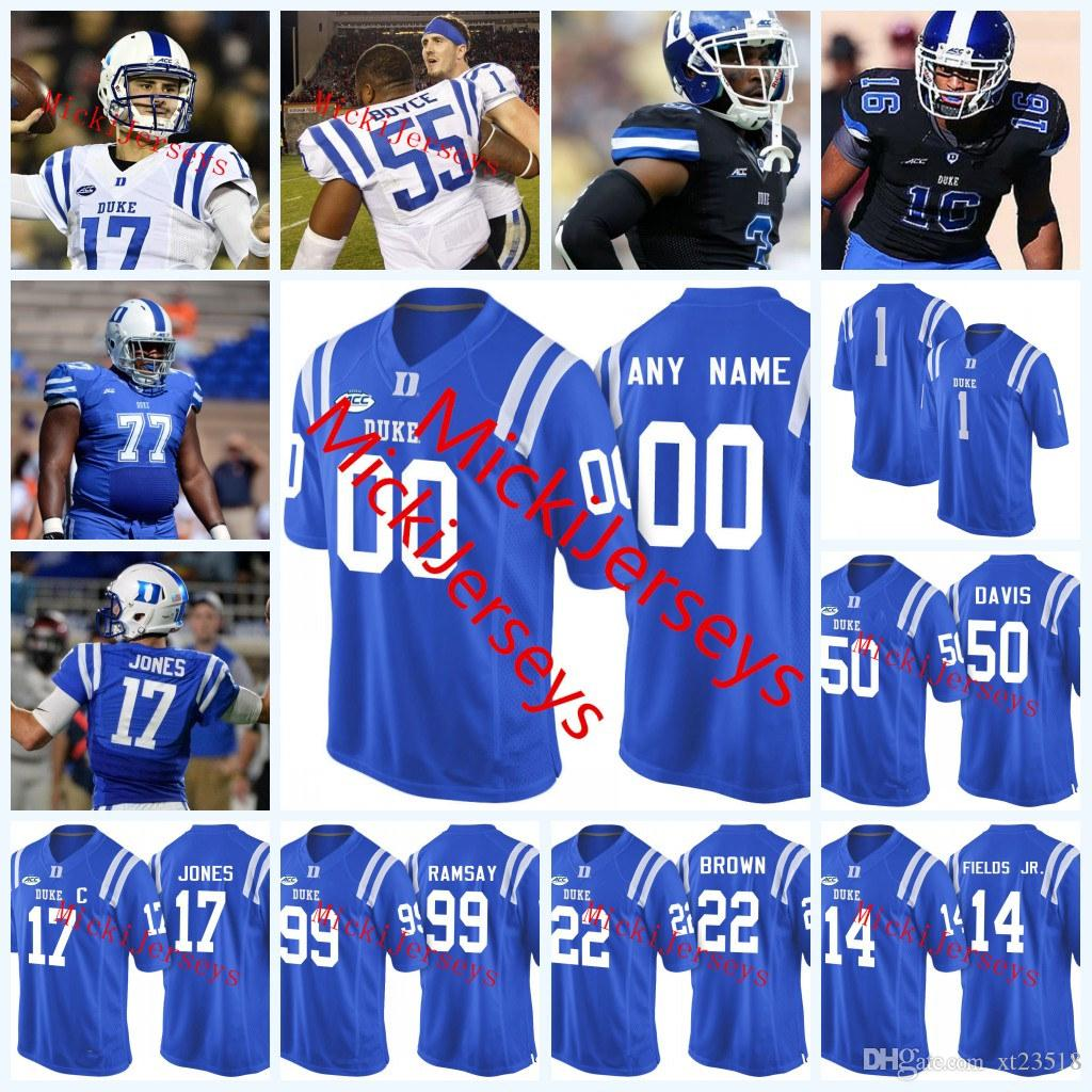quality design 979d7 bd4dc Cucstom NCAA Duke Blue Devils College Football Jerseys DANIEL JONES Bryon  Fields Austin Davis Ramsay Evan Lisle Laken Tomlinson Duke Jersey