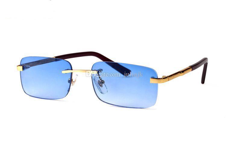 럭셔리 남성 디자이너 브랜드 선글라스 상자가있는 남성 버팔로 경적 안경에 대한 테두리가없는 프레임 패션 직사각형 선글라스