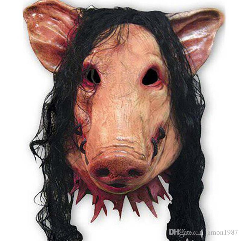 Halloween Mask Scary Cosplay Costume Latex Holiday Supplies Novelty Halloween Mask Saw Pig Head Scary Masks With Hair