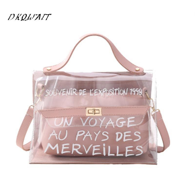 d7cab1a44b 2018 New Fashion Women Clear Transparent Shoulder Bag Jelly Candy Summer  Beach Handbag Woman Messenger Bags Bolsa Feminina Cheap Designer Handbags  Black ...