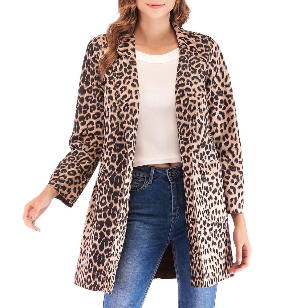 competitive price 3be1d 6b3fc Moda donna inverno camoscio Leopard stampa manica lunga cappotto caldo  cappotti giacca con cerniera tasche cappotto invernale donna con cappuccio