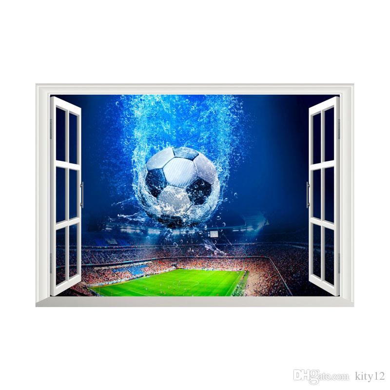 Football World Cup 3D Fake Window Wall Stickers for Kids room Boys Bedroom Wall Decals Murals Home Decor
