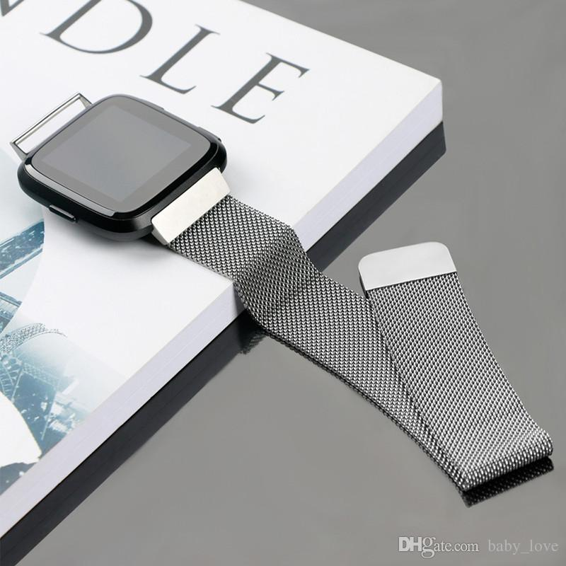 Paslanmaz Çelik Örgü Milanese Manyetik Döngü Fitbit Versa Akıllı İzle için Bilek Bandı Kayışı İzle Sapanlar Bilezik Bileklik