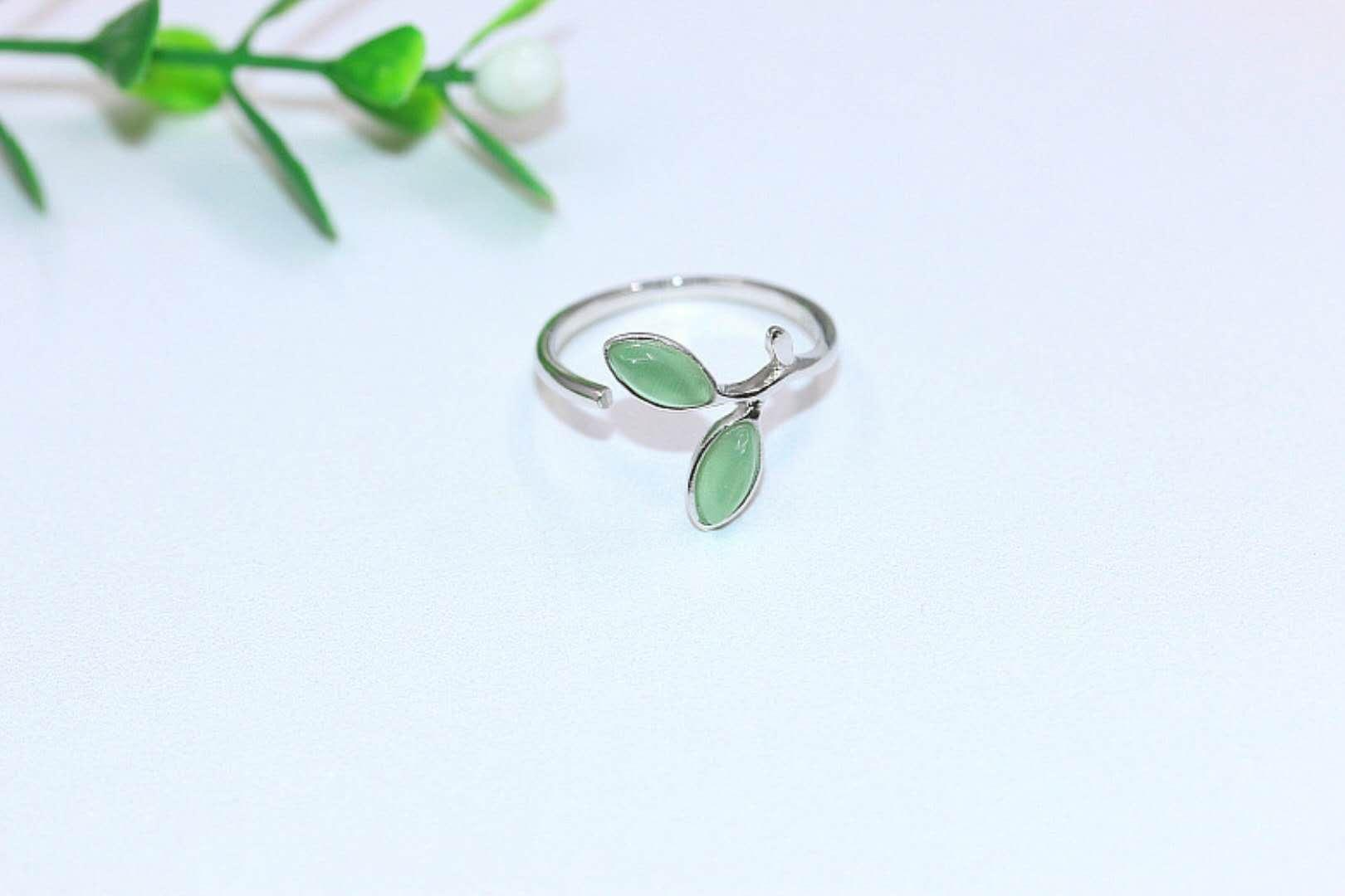 Green leaf Nature cat's eye ring new arrival Fashion pure silver 925 open ring Hot sale precious gemstone ring Top popular jewelry for lady