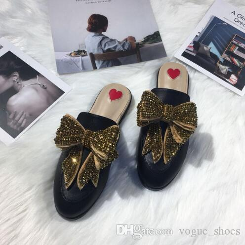 Woman Mules Slippers Leather Crystal Bow Knot Flats Designer Woman Sandals  Cozy Outside Fur Slippers Red Heart Rhinestone Flat Shoes Rain Boots Mens  Shoes ... 0903a2af8600