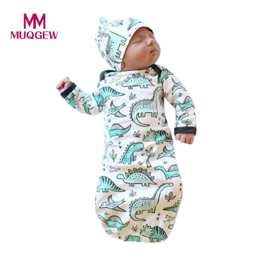 Newborn Infant Baby Girls Boy Cartoon Dinosaur Pajamas Gown Swaddle ...