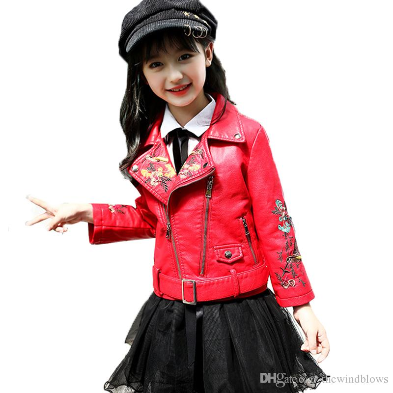 8af49ad5bedf Girl Kids Fashion Pu Leather Jackets Coats Spring Autumn Belt Flower ...