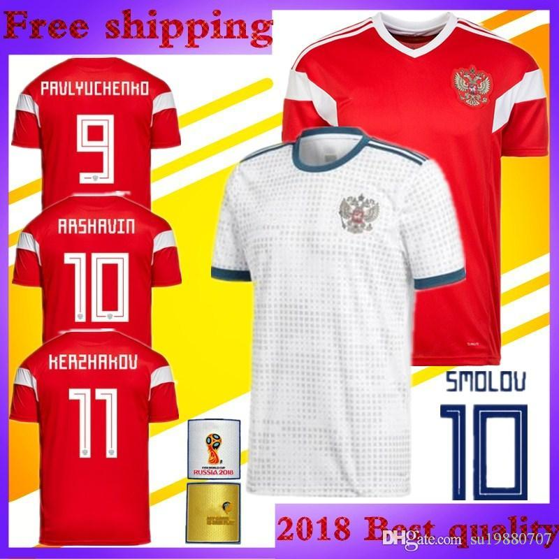 detailed look c6726 53a08 2018 world cup Russian ARSHAVIN Soccer Jersey Russia Home red away white  DZAGOEV SMOLOV KOKORIN ARSHAVIN Российская football shirt