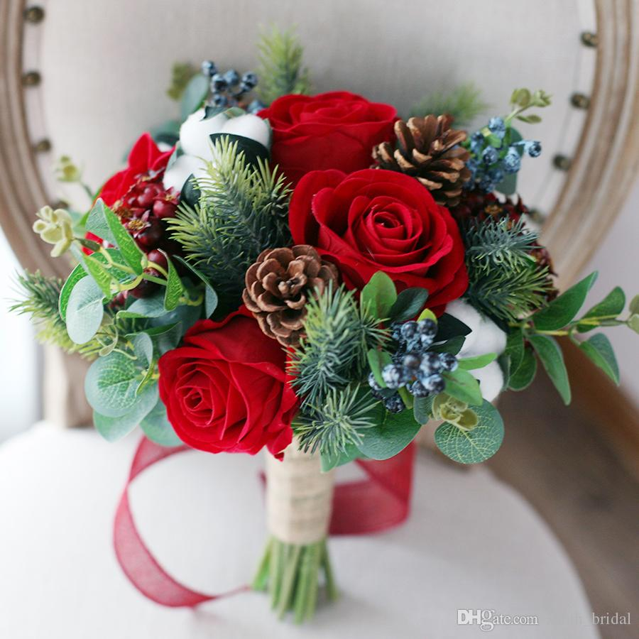Winter Wedding Flower Bouquets: Red Christmas Artificial Bridal Bouquets 2018 Rose Berry
