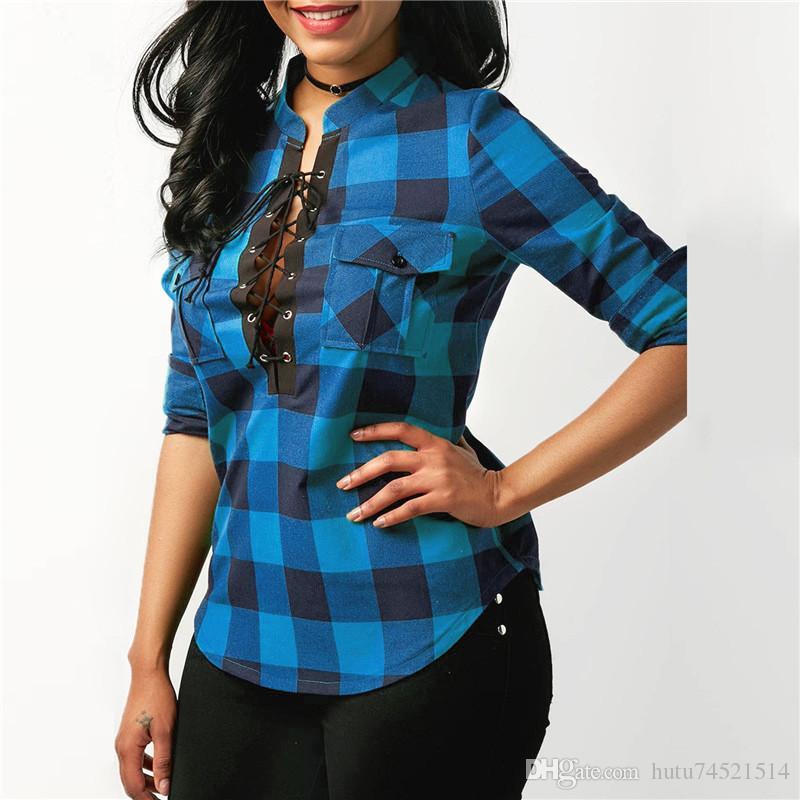 Kadın Ekose Gömlek 2018 Bahar Uzun Kollu Bluzlar Gömlek Ofis Lady Pamuk Dantel up Gömlek Tunik Casual Tops Artı Boyutu Blusas