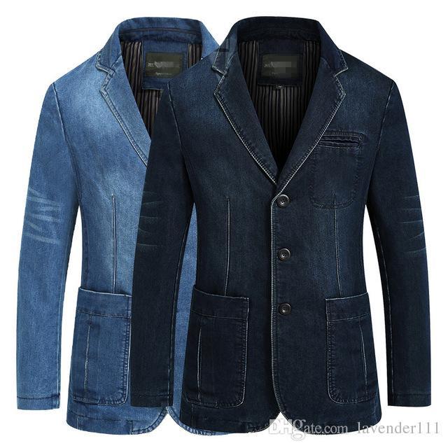 14f919a479 Acquista 2018 Autunno Inverno Jeans Blazer Uomo Cotone Denim Smart Casual  Uomo Abiti Giacche Slim Fit Cappotti Maschili Abbigliamento Plus Size M 4XL  A ...
