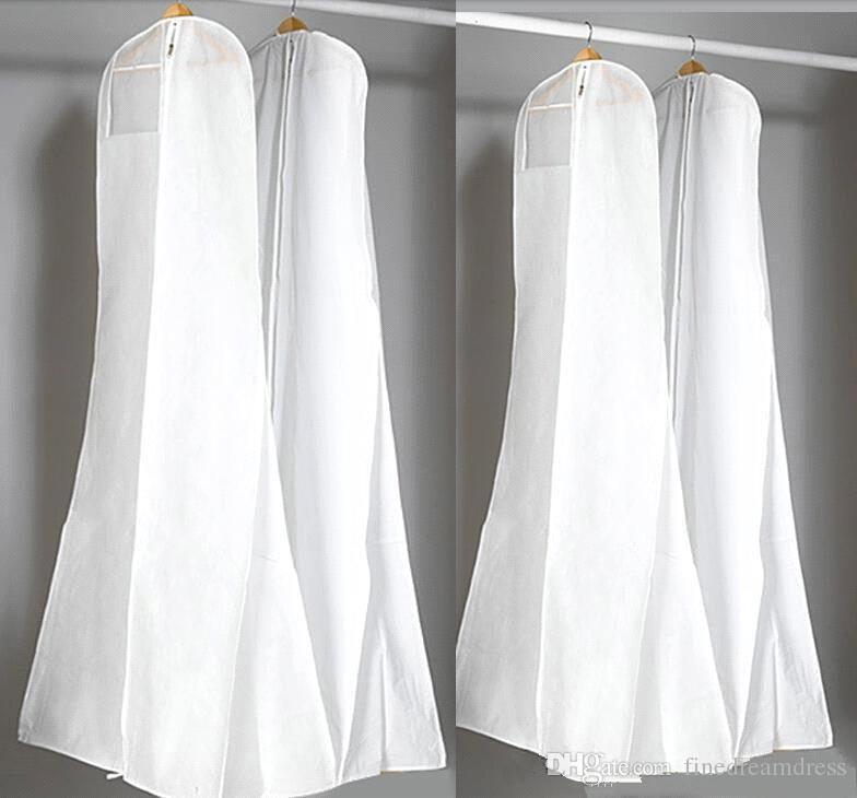 Classique 180 cm Robe De Mariée Robe Sacs De Haute Qualité Blanc Housse Anti-Poussière Sac Long Vêtement Couverture De Stockage De Voyage Couvre-Poussière