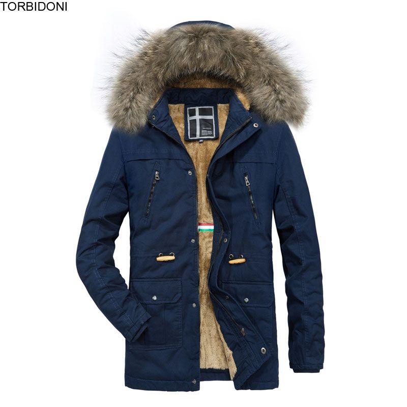 Lässige Solid Parkas Winterjacke Männer dicke Fleece warme hochwertige männliche Jacke Fell Hoodie dick gepolsterte Mantel Kordelzug Taille
