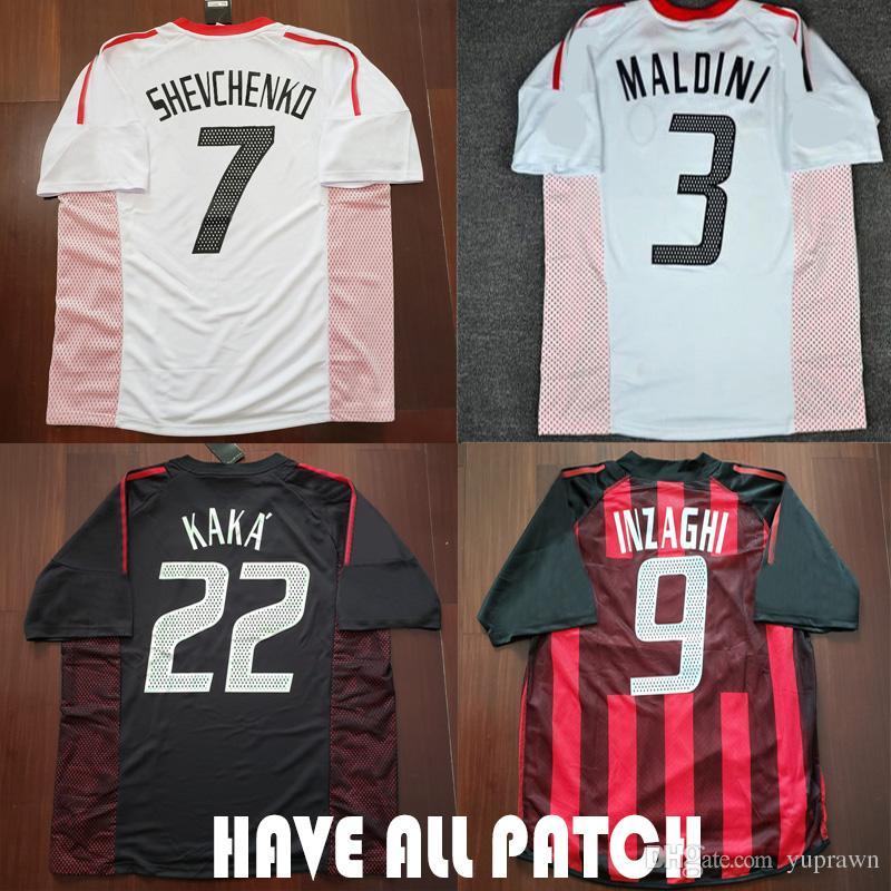 0676b0953a Compre 02 03 AC Milan Retro Camisola De Futebol Shevchenko Nesta Maldini  Inzaghi Nesta 2002 2003 Home AC Milan Italia Calcio MAGLIA Camisa De Futebol  De ...