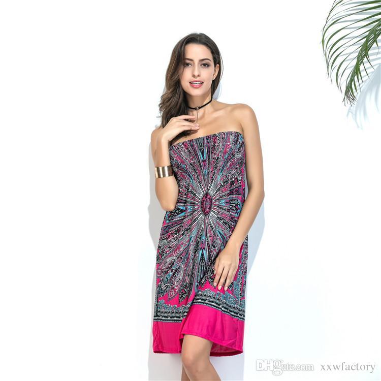 Robe de plage en soie de lait Femmes sans bretelles Dress Casual Loose Printing Floral Tunique Dress Femmes Vêtements cadeau