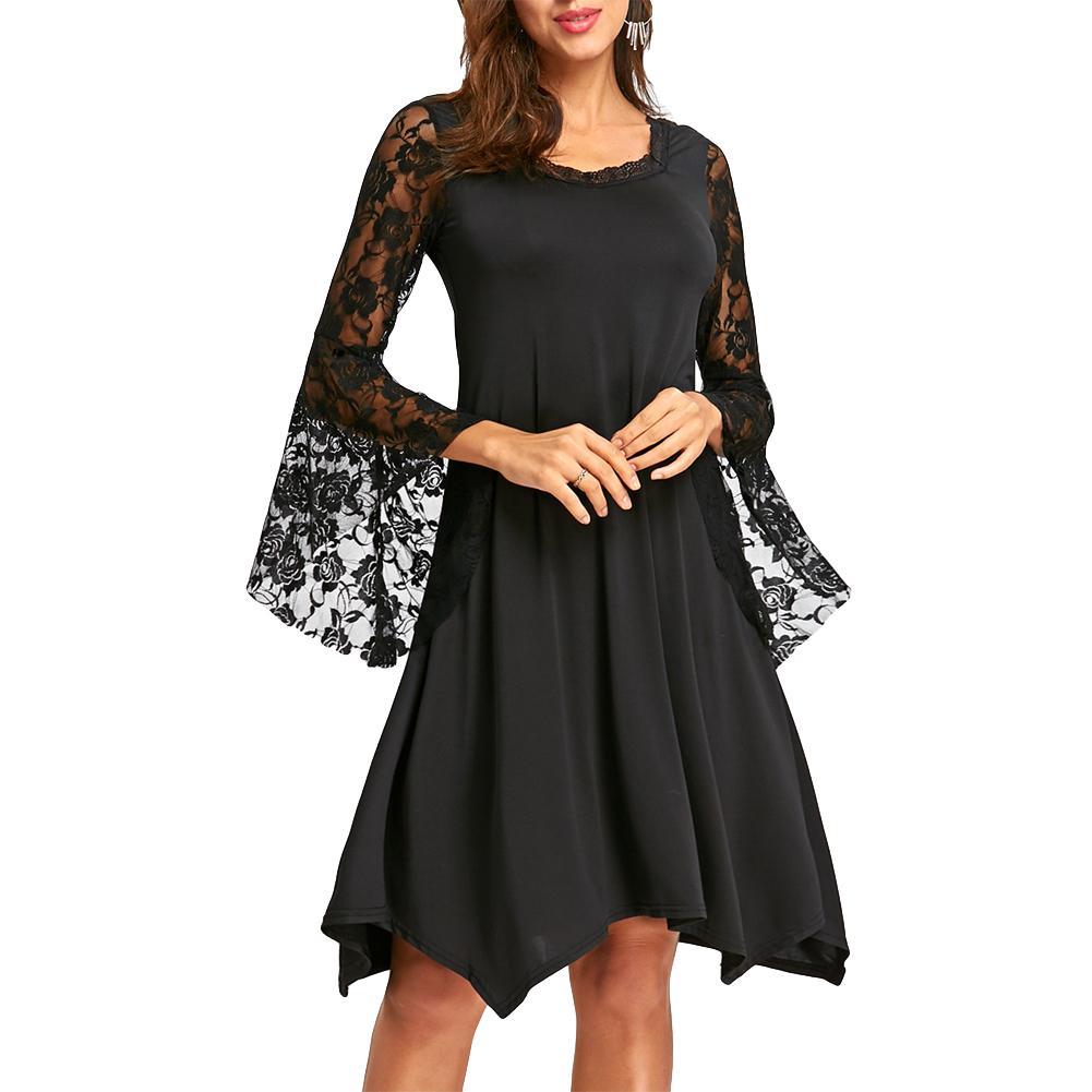 7d43586785d Elegant Ladies Flare Sleeve Lace Dress Female O Neck Sexy Loose 3XL 4XL 5XL  Plus Size Asymmetric Dress Women Black Dress 2018 Dress For Womens White  Summer ...
