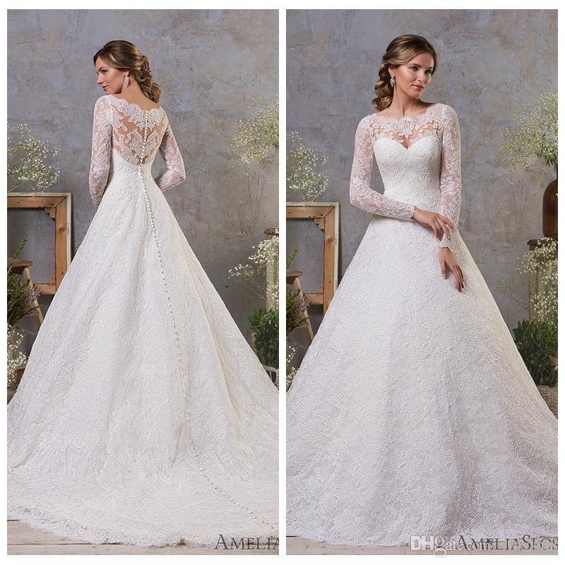 compre modesto vestido de novia de manga larga joya de encaje