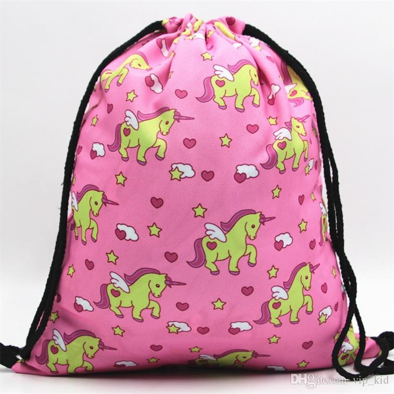 31 Styles Pink Unicorn Small Backpack Women 3D Printing Travel Softback Men  Mochila Drawstring Bag School Girls Backpacks Sac Backpacks Sales Backpack  ... 6434e69fe4334