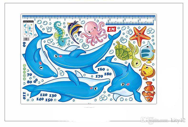 Nouveau Dauphin de Bande Dessinée Amovible Mesurer Hauteur Stickers Muraux Papier Peint Croissance Graphique Decal Pour Décoration de Chambre D'enfant