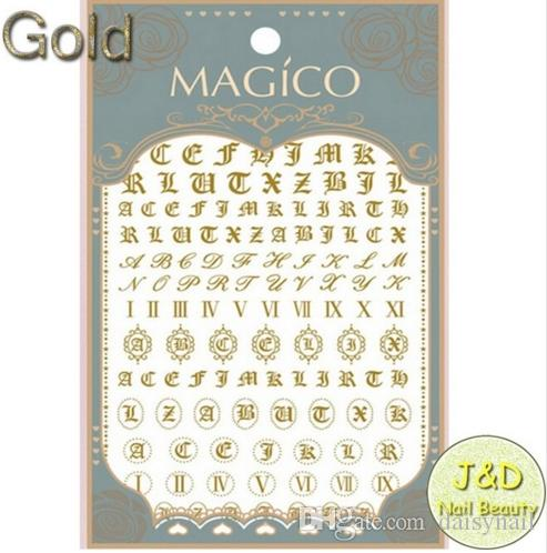 1sheet Gold Alphabet Nail Art Sticker Italic Character Decals Roman