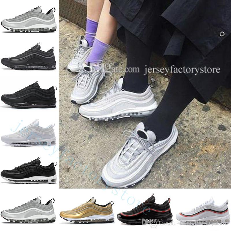 99db5e7d8e Cheap Cushion 97 OG QS Metallic Gold Silver Bullet PRM Triple White Black  Skepta Sk London Bronze Running Shoes Mens Outdoor Sports Shoes Running  Shoes For ...