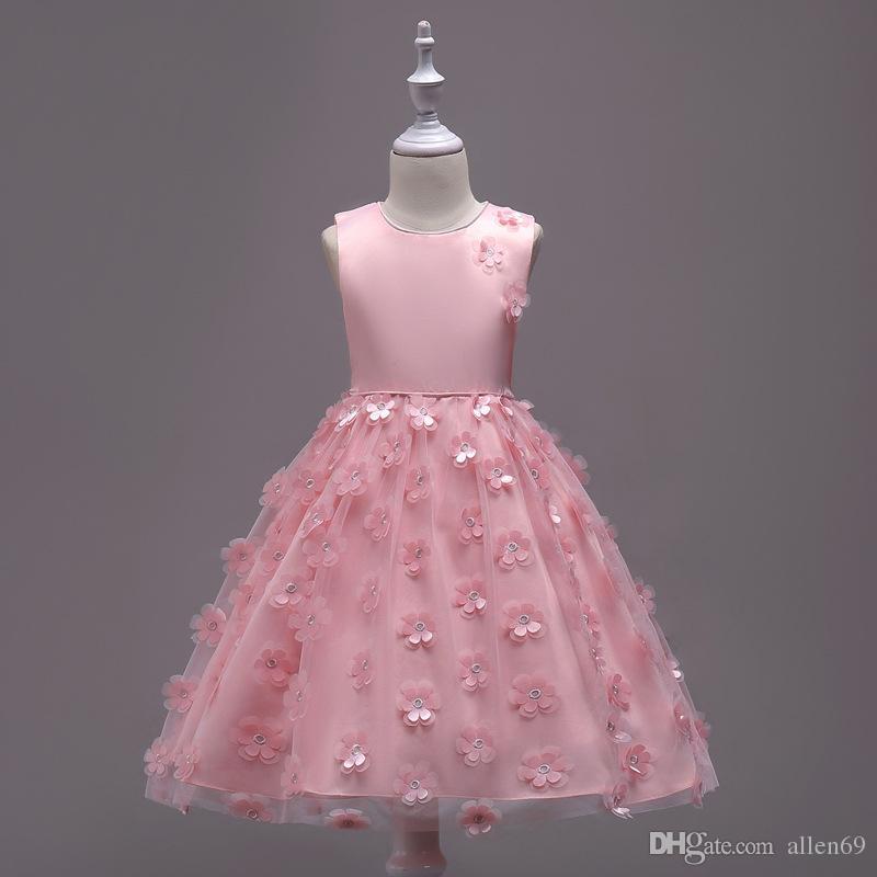 Compre Nuevo 2018 Vestidos De Princesa Boat Neck Petal Niños Vestido ...