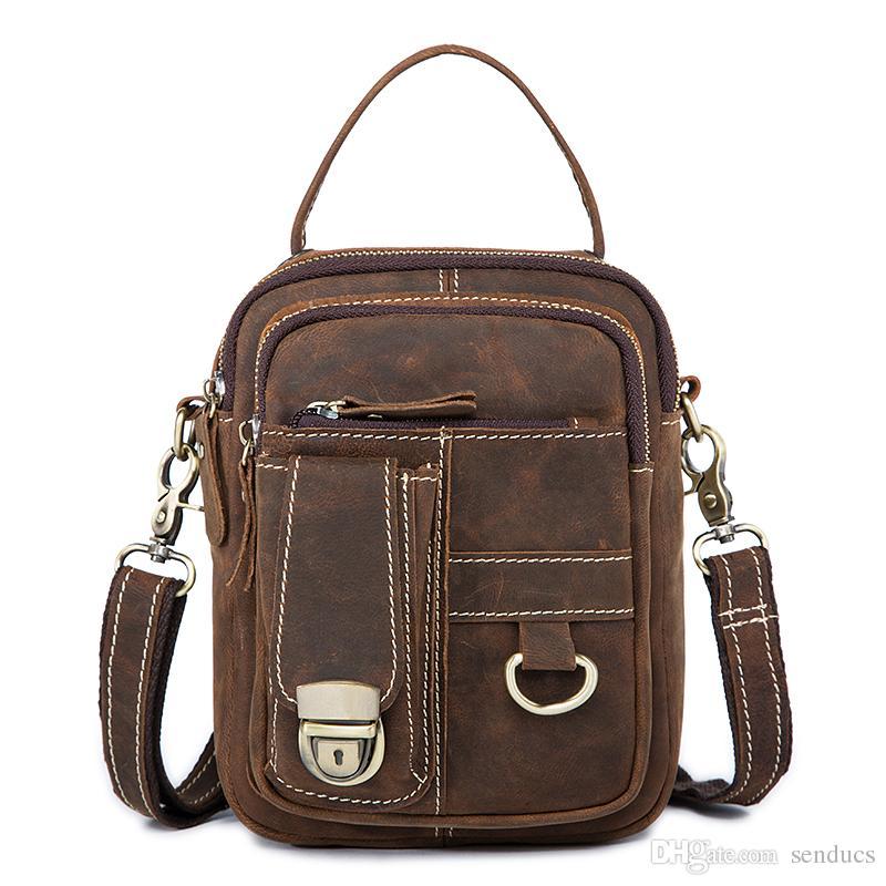 Fashion Men Crossbody Bags Genuine Leather Men Bag Belt Waist Pack Shoulder  Men Messenger Bags Sling Bag Male Phone Pouch Flap Backpacks For College  Women ... 4f0d5789a8b45