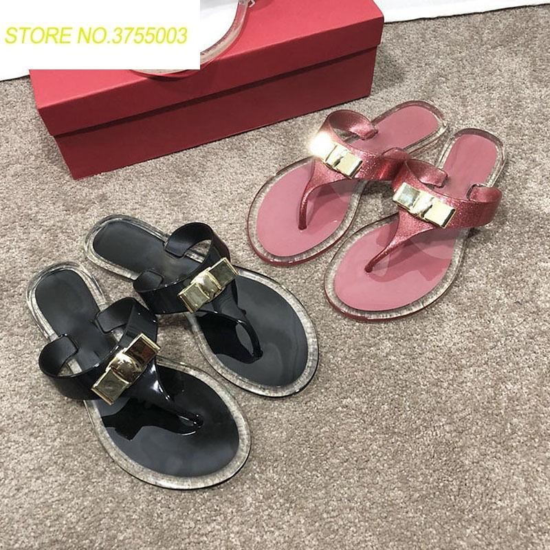 7c9fed521 2018 Summer New Metal Bow Jelly Shoes Women Fashion Flat Flip Flops Ladies Sandals  Female Outside Beach Transparent Slippers Red Boots Pink Shoes From ...