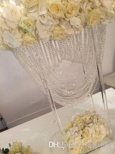 Oval şekil kristal akrilik boncuklu düğün centerpieces çiçek düğün masa parti dekorasyon için masa dekor standı