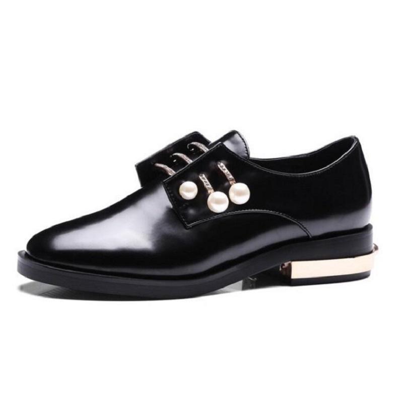 2aa22a4b5f8263 Acheter Dames Cristal Perle Oxford Chaussures De Mode 1 Marée Porter Oxford  Chaussures Pour Femmes Décoration En Métal Faible Talon Mocassins Plus La  Taille ...