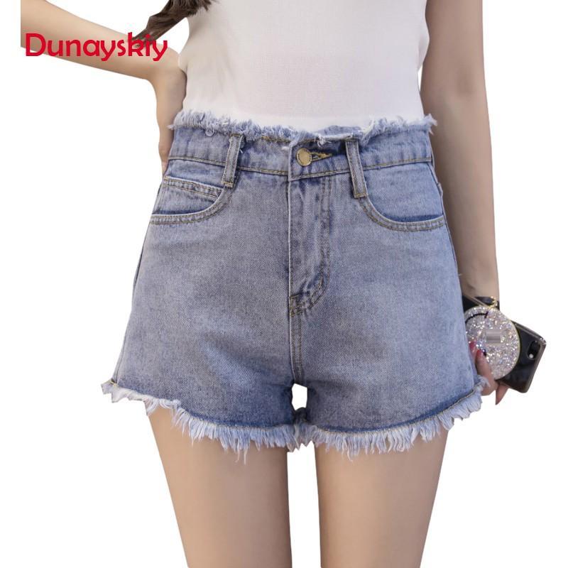 7b1076189 Compre Mulheres Verão Novo Branco Preto Azul Casual Shorts Jeans De Cintura  Alta Feminino Moda Básico Borla Desfiada Borda Shorts Dunayskiy De Yonnie