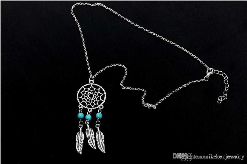 necklace slided disc hung bead and feather silver or gold plated