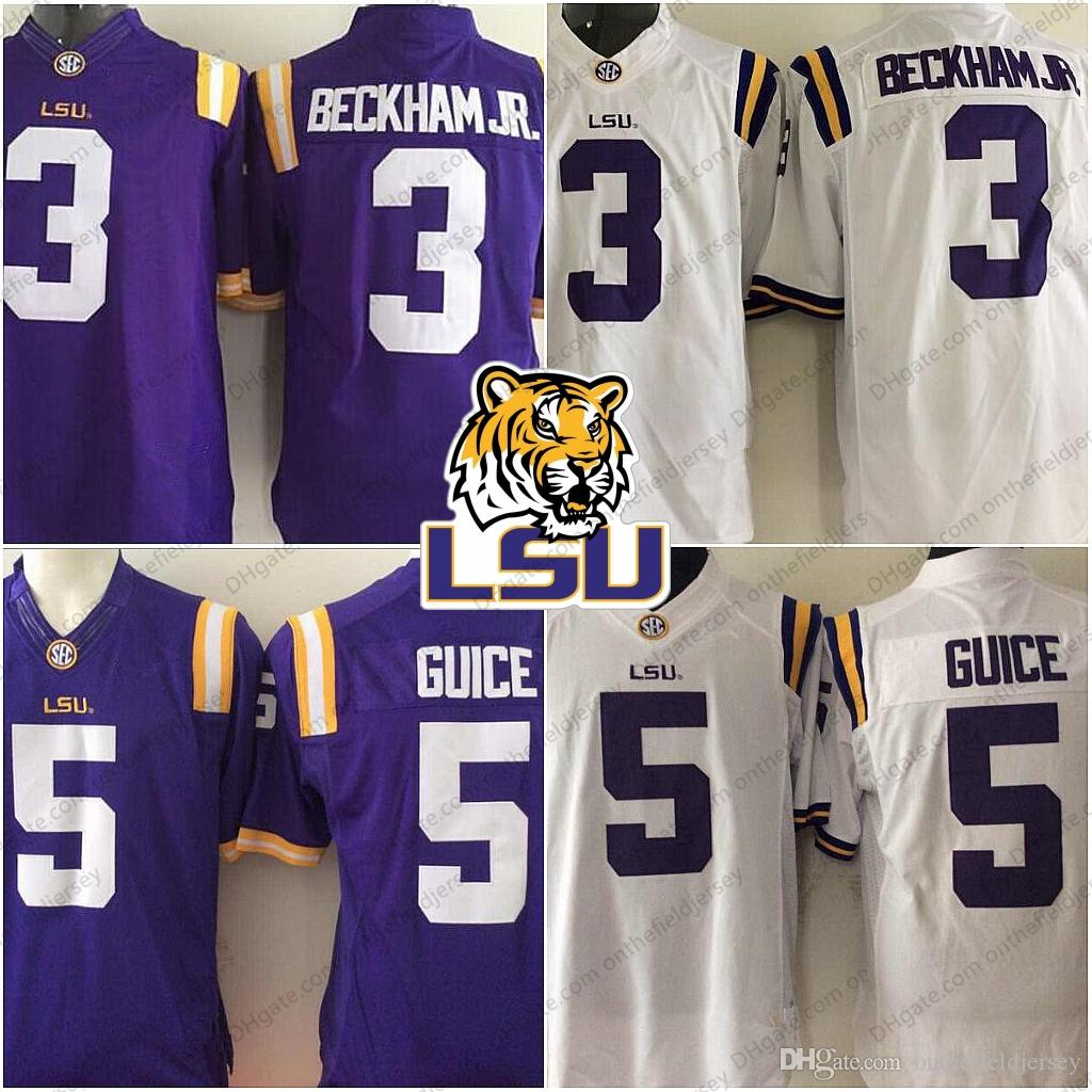 2019 LSU Tigers NCAA Football  3 Odell Beckham Jr. 5 Derrius Guice Hot Sale  Game Jersey White Purple SEC College Football Stitched Adult Jerseys From  ... 686cd9615