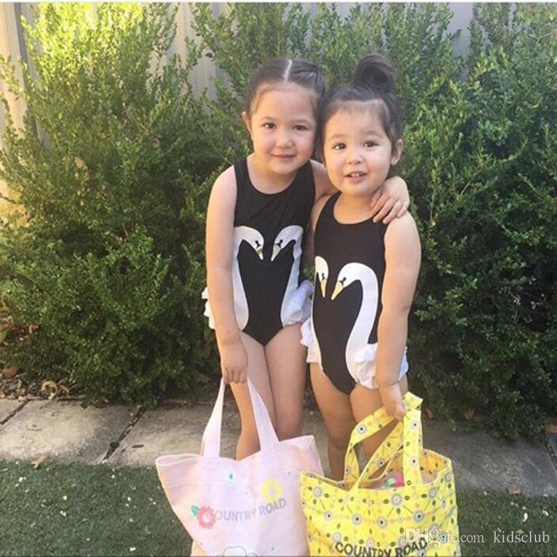Esplosione Modelli 2018 Primavera e Estate New Super Cute Black Swan Flamingo Parrot Girl Baby costume intero