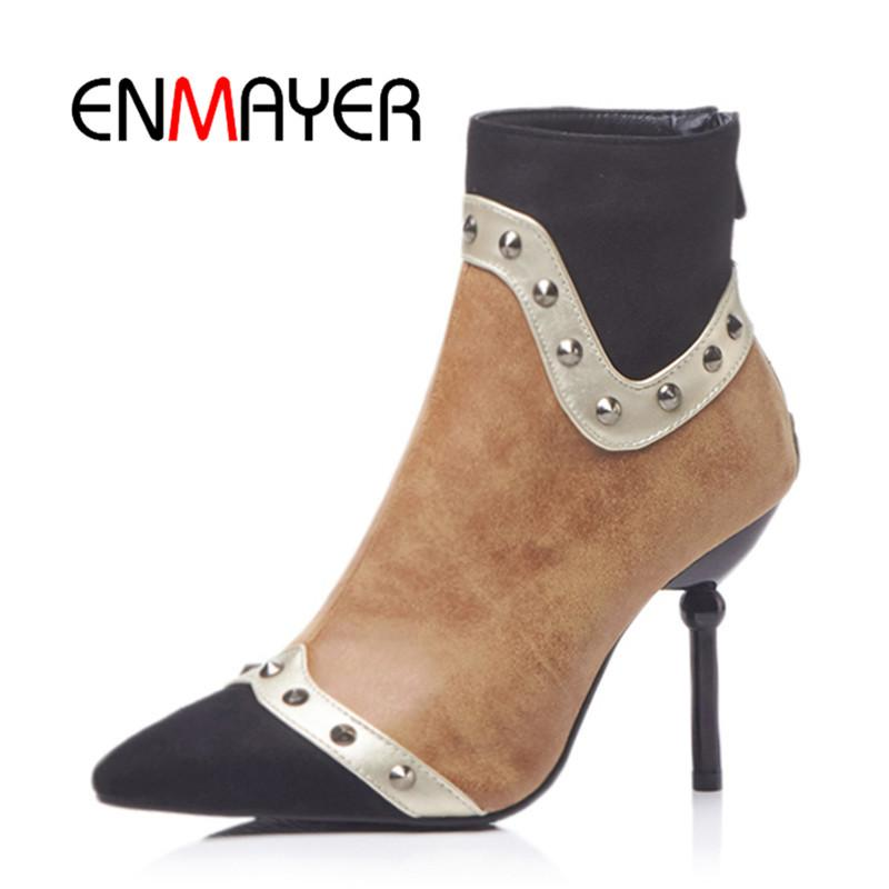 77f0f832 ENMAYER Women Ankle Boots Big Size 34 48 Pointed Toe Thin Heels Lady High  Heel Boots Sexy Zipper Winter Causal Shoes Woman CR930 Mens Chelsea Boots  Black ...