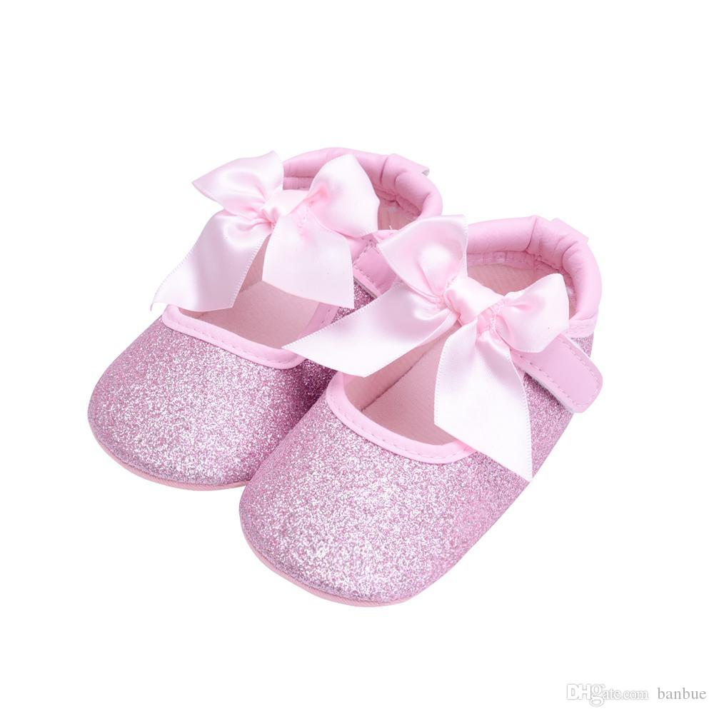 2019 Baby Girl Shoes First Walkers Gold Bling Baby Shoes With Big Bow From  Banbue 474ee0d02d2c